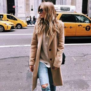 ZARA Camel Coat Jacket Soft Feel XS peacoat Beige